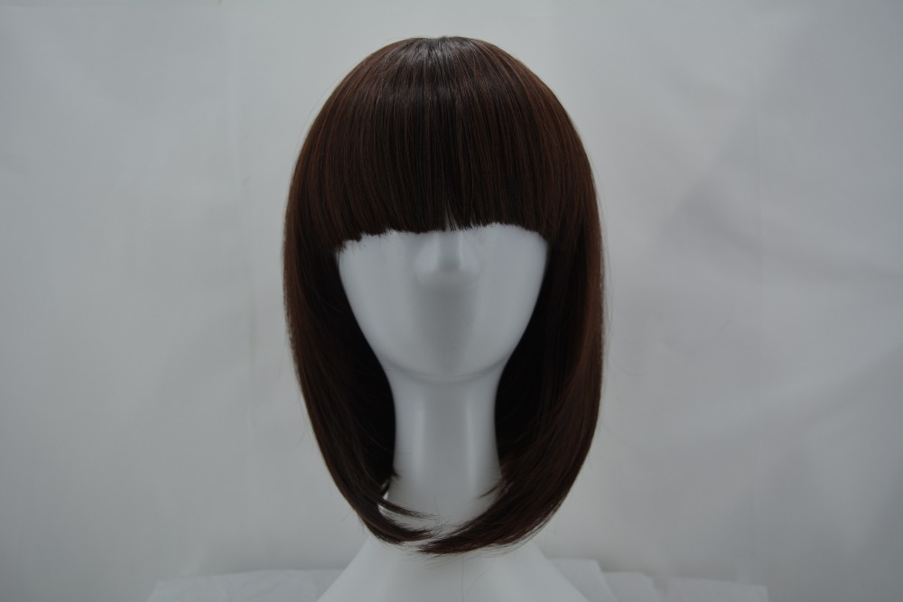 Hair Extensions & Wigs Synthetic None-lacewigs Black Bob Wig Fei-show Synthetic Heat Resistant Fiber Hairpieces Oblique Fringe Bangs Short Wavy Hair Halloween Carnival Hairset