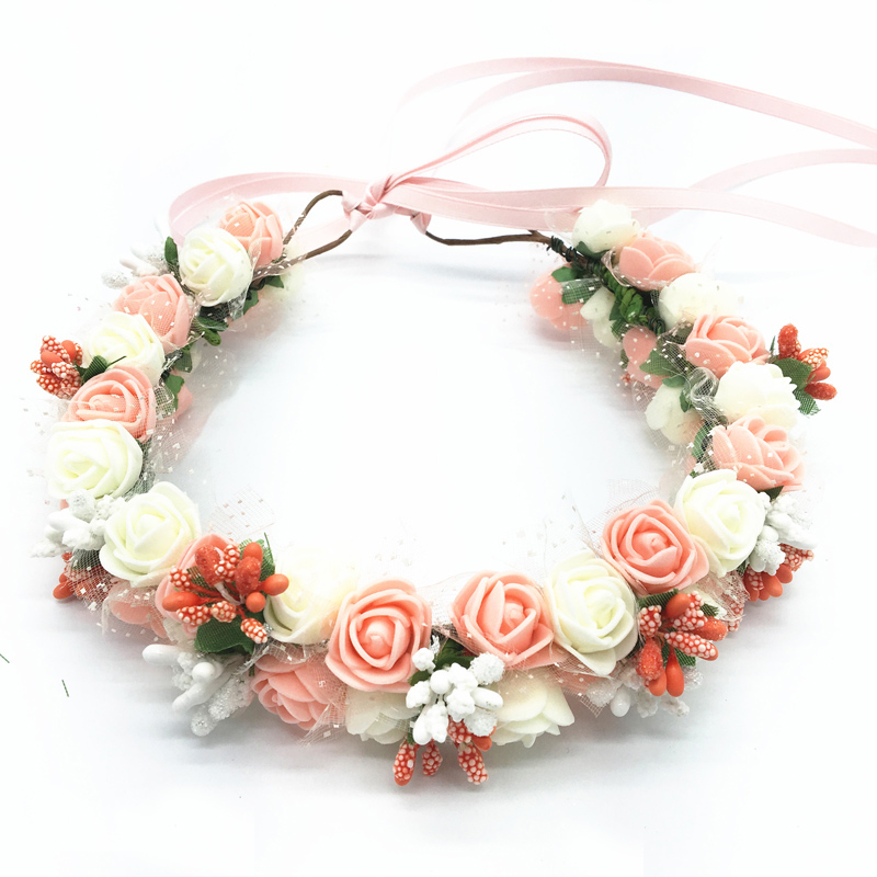 Flor Rosa pequeña corona Floral diadema guirnalda mujeres niñas accesorios para el cabello novia guirnalda de flores de boda tocado de boda