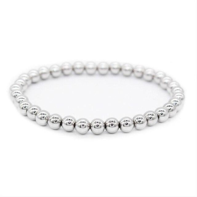 93581942dbe Poshfeel 6 Mm titane acier boules perles Bracelet Pulseras Bracelet Homme  Bracelet à breloques pour meilleur