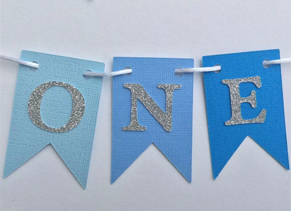 Custom Silver One Birthday Banner Boy Blue Highchair