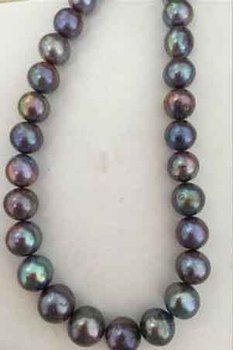 """shupping 08151 HUGE PERFECT 12-13mm TAHITIAN BLACK RED GREEN PEARL NECKLACE17.5"""" 14k free shipping"""