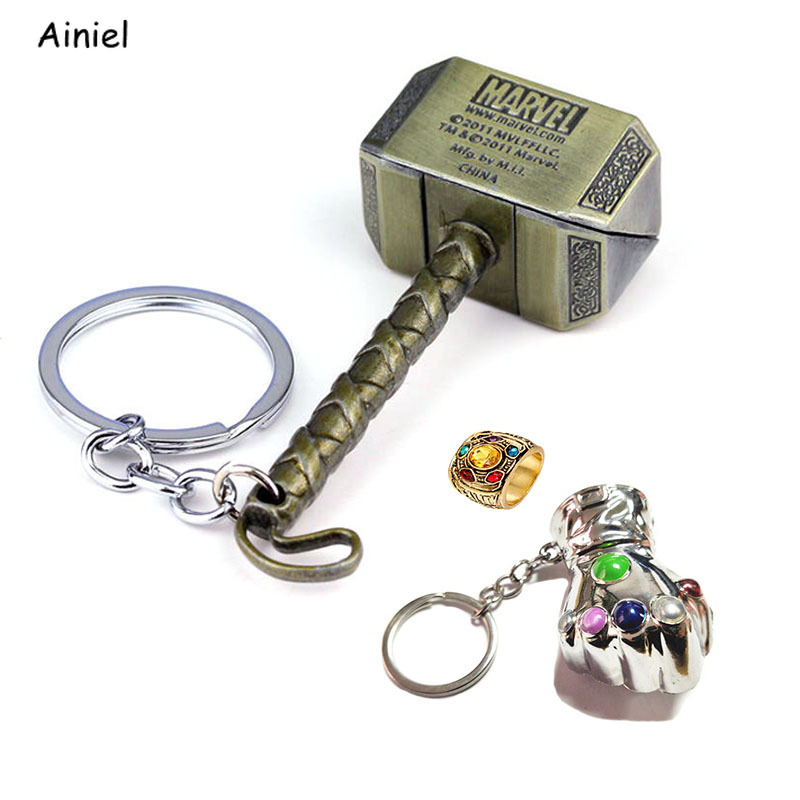 Movies Avengers Infinity War Thanos Ring Thor Hammer Key Chain Ring Cosplay Alloy Ring Jewelry Trinket Props Gift for Men Women