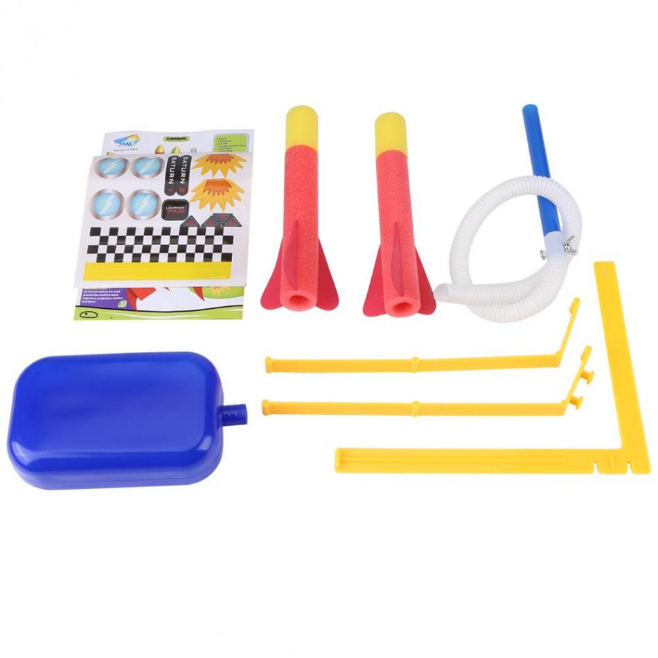 Child Early Eduction Intelligent Foam Rocket Toy Launcher Jump Foot Trigger with 2 Darts Outdoor Activity Toy Set for Kids Play
