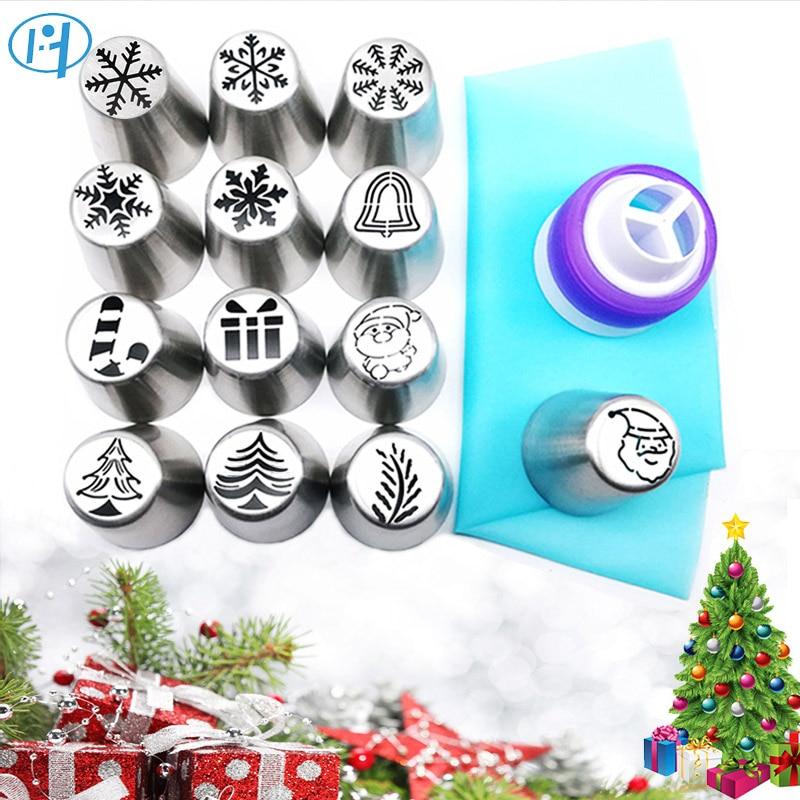 15 stücke Weihnachten Gebäck Kuchen Düsen Set Santa Claus Weihnachten Baum Schnee Zuckerglasur-friedliche Tipps Russische Düse Kuchen Backen Werkzeuge