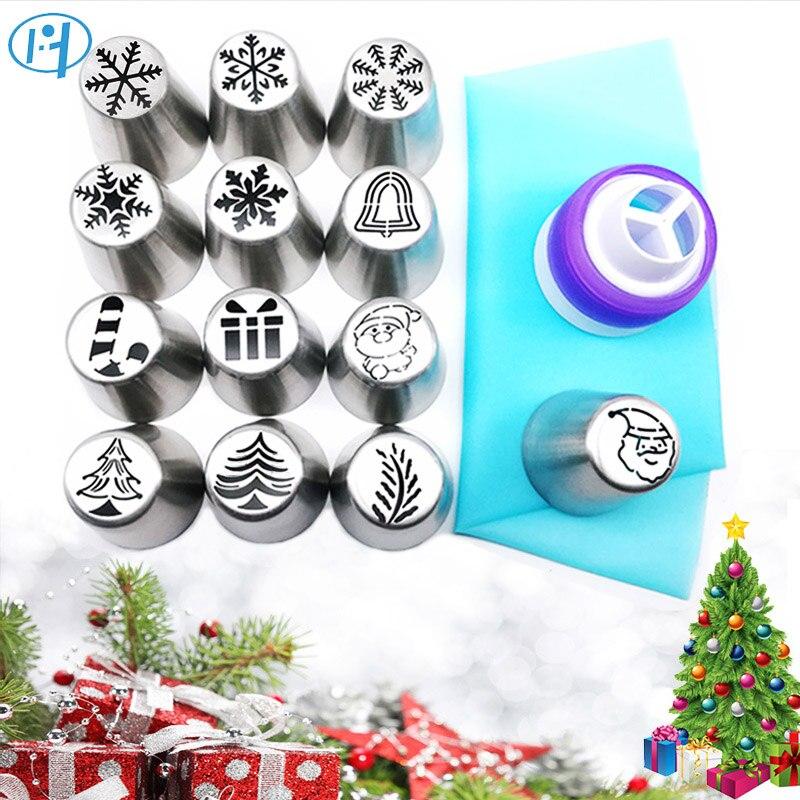 15 stks Kerst Gebak Cake Nozzles Set Kerstman Kerstboom Sneeuw Icing Piping Tips Russische Nozzle Cake Bakken Tools