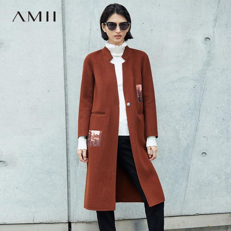 Amii Minimalist 100 Wool Coat Women Autumn 2018 Office Solid Printed Double sided Woolen Jackets Elegant