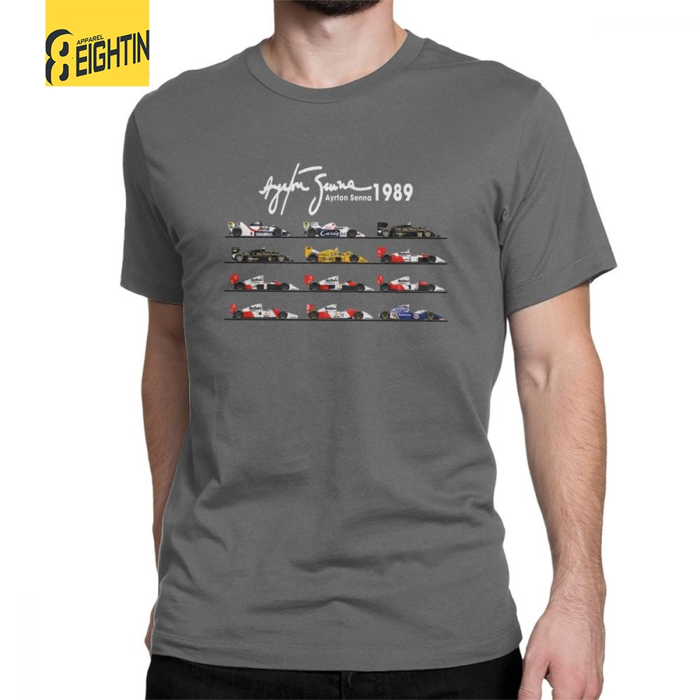 Man's All The Cars Ayton Senna Formula 1 Racing Car F1   T  -  Shirt   Crew Neck Short Sleeve Tops Pure Cotton Tee   Shirt   Summer   T     Shirts
