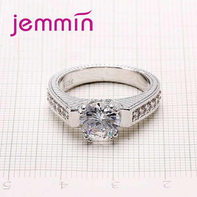 2pcs/lot Female Crystal White Round Ring Set Luxury 925 Silver Engagement Ring For Women Ladies Lover Party Wedding 6