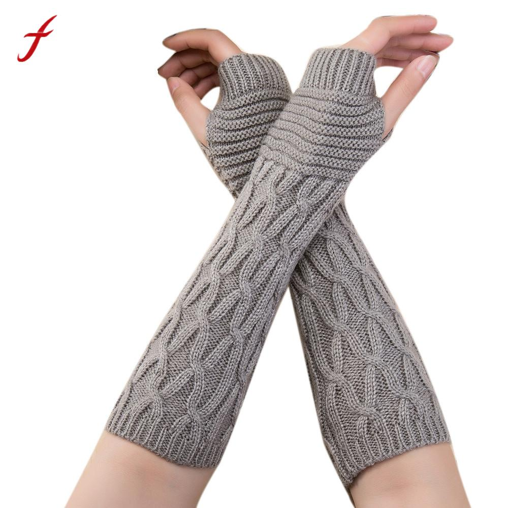 2017 Autumn Winter Women Gloves Fashion Wrist Arm Warmer knitting Wool Long Fingerless Gloves Mitten Warm Female Guantes
