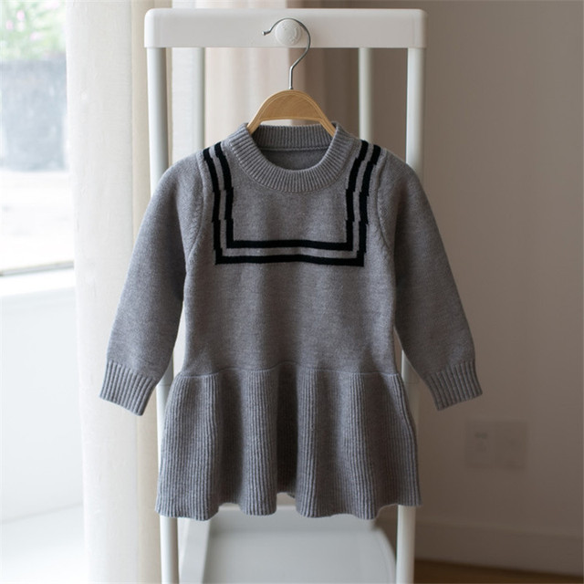 188e4532a Toddlers Girls Sweater Dress pink gray colour Cute Child Baby Primer Shirt  Knitted Sweater Baby Girl Clothing
