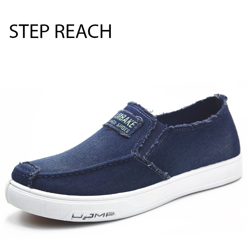 STEPREACH Brand shoes men zapatos hombre sapato masculino denim breathable light canvas adult slip-on casual spring/autumn loafe