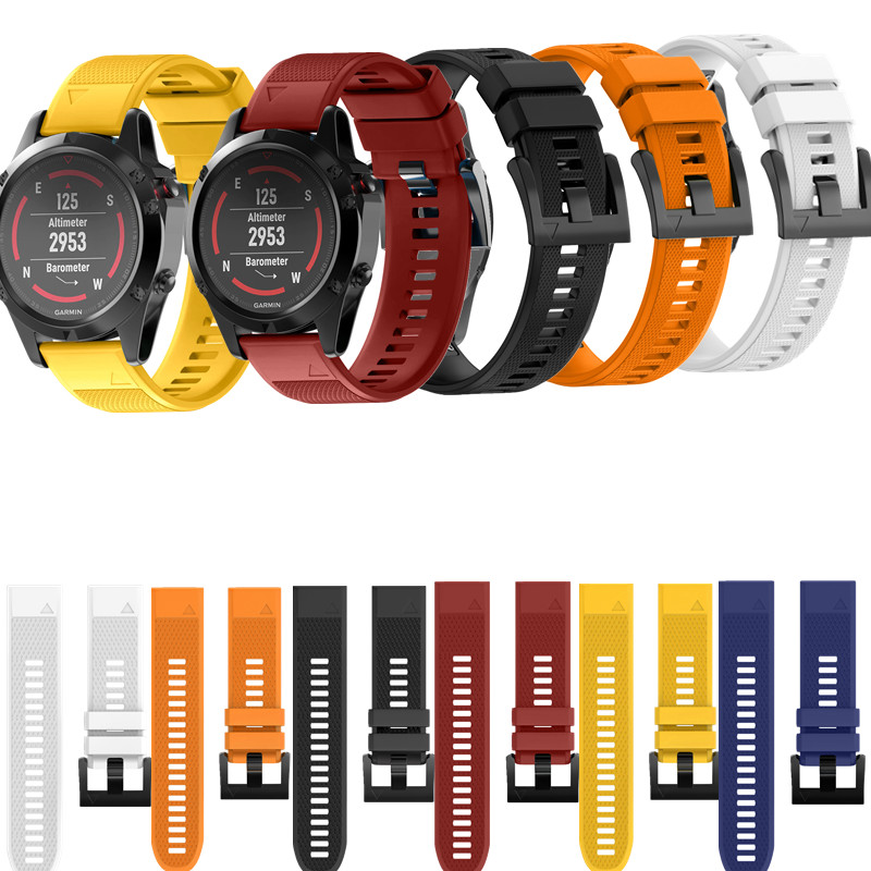 ASHEI Watchbands For Garmin Fenix 5 Band Easy Fit 22mm Width Outdoor Sport Soft Silicone Watch Strap for Garmin Fenix 5 Bands 12 colors 26mm width outdoor sport silicone strap watchband for garmin band silicone band for garmin fenix 3 gmfnx3sb