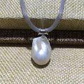 Nuevo diseño nucleados flameball barroco de la perla colgante, collar de agua dulce en forma de 3 colores Durable ajustar cadena 925 Simple