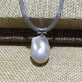 new design baroque pearl pendant necklace nucleated flameball shape freshwater 3 color Durable adjust chain 925 sterling Simple