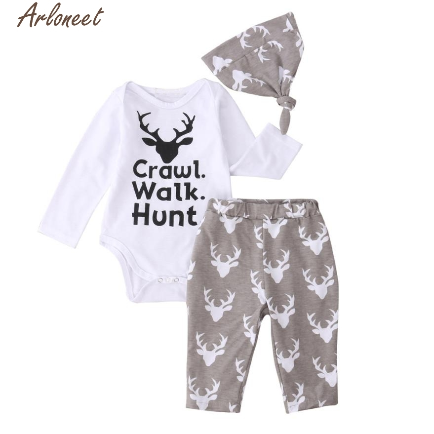 ARLONEET Christmas Pajamas Dress For Baby Girls Newborn Infant Baby Outfit Clothes Print Romper Tops+Long Pants +Hat Y1014 &