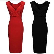 купить 2018 Fashion Summer Womens Clothing Ladies Sleeveless Dress Casual Solid Color Knee-Length V-Neck Dress дешево