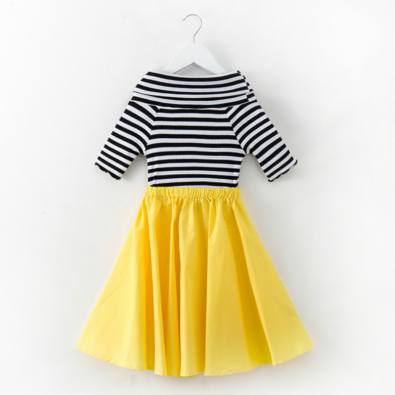 Tanggetu Kids Dresses for Girls 2018 New Spring Summer Baby Girl Clothes Two Pieces of Striped T-shirt and Solid Dress Cotton 2pcs children outfit clothes kids baby girl off shoulder cotton ruffled sleeve tops striped t shirt blue denim jeans sunsuit set