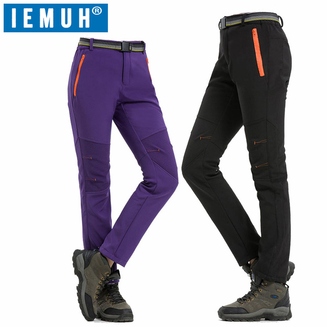 ce6f1db3da IEMUH Softshell Pants Women Breathable Thermal Waterproof Pants Women  Outdoor Sport Camping Hiking Pants Fleece Outdoor