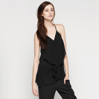 Sexy Brand European Summer 2016 New Arrival Cute Cami Top Vogue Loose Chiffon Halter Neck Camisole Black/White/Green/Pink