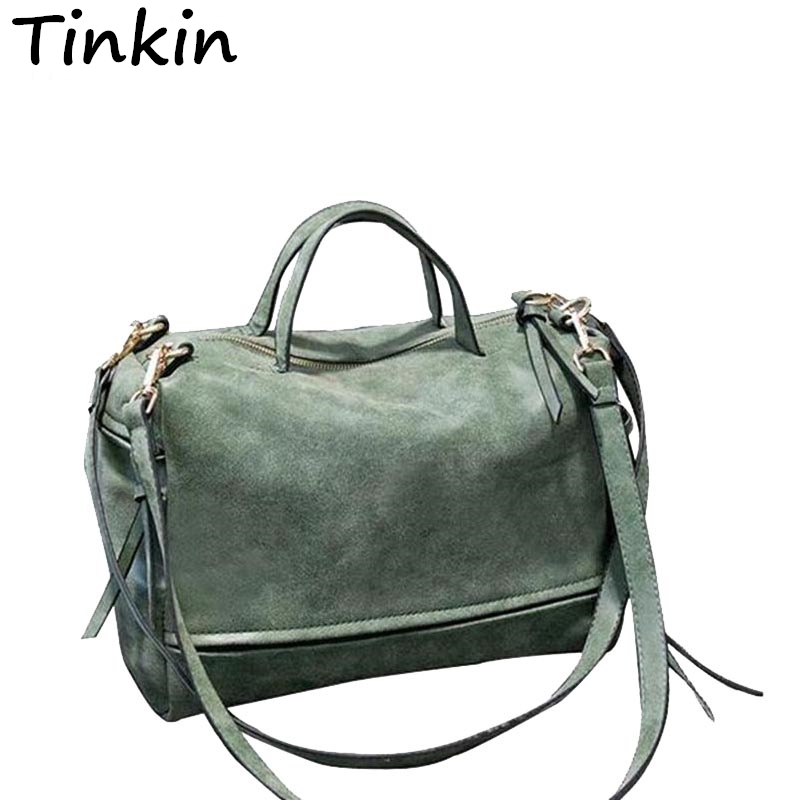 Tinkin Handbag Vintage Large Messenger-Bag Crossbody-Bag Fashion Women's Frosted Winter-Style