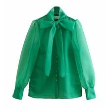 women high street bow collar transparent organza green smock shirt