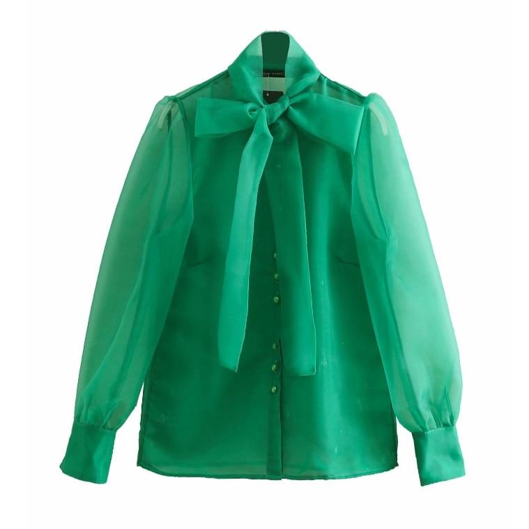 Women High Street Bow Collar Transparent Organza Green Smock Shirt Blouses Women Long Sleeve Buttons Blusas Chemise Tops