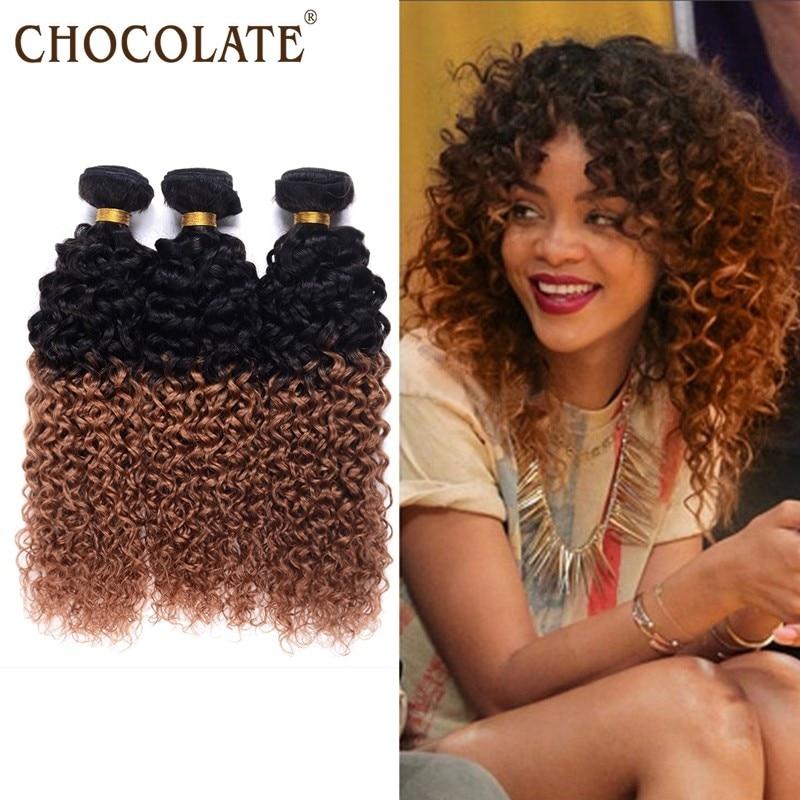 Brazilian Kinky Curly Ombre Hair 4 Bundles T1b 30 Natural Black