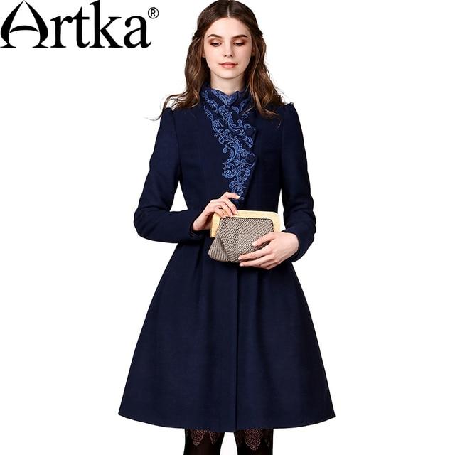 Artka женская ретро зимная одежда стоячем воротником с длинными рукавами темно-синий высококачественное элегантное удобное шерстяное пальто с вышивкой FA10149Q