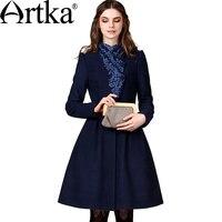 VERKAUFEN NUR NACH RUSSLAND. Artka Wollmantel 2018 A-Line Elegante Damen Mantel Stickerei Vintage Mantel Marke frauen Outwear FA10149Q