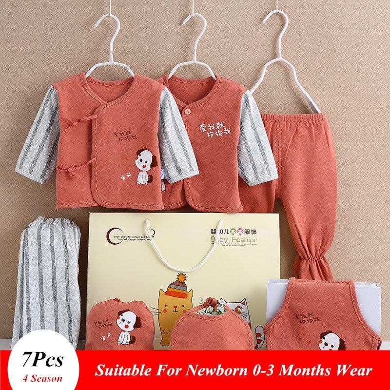 7Pcs/Set 0-3 Months Newborn Clothing Set Gift Box Baby Boy Girl Underwear Pajamas Set For Newborn 4 Season Wear Dwq450