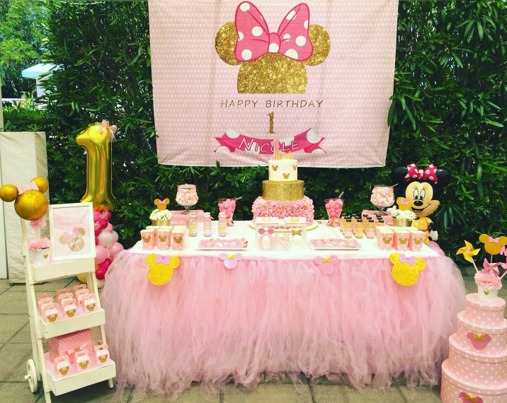 Mehofoto Birthday Photography Backdrop Pink Wave Point Minnie Mouse