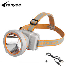 Zonyee 3000 Lumens LED Head Lamp 35W Powerful Waterproof USB Rechargeable Head Light Flashlights Fishing Hunting Light
