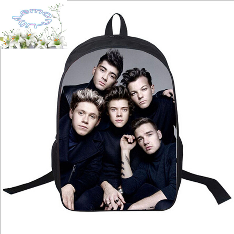 16Inch Polyester Backpack Free Add Logo+Customized Free Shipping One Direction Travel School Bag Mochila Teenage Boys Girls A027