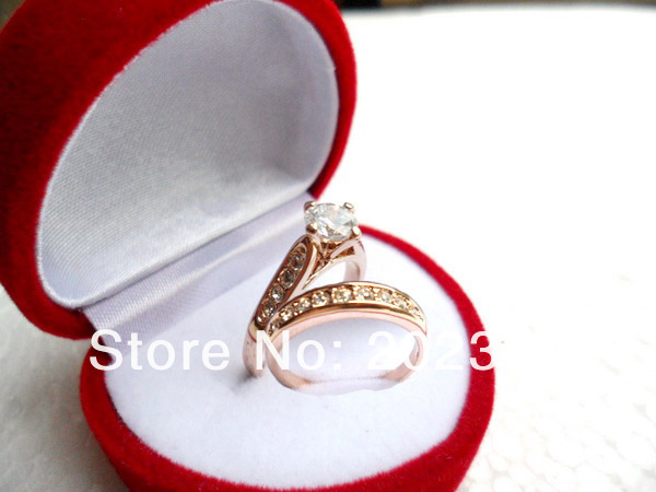 Classic style 18K Rose Gold Plated zircon Wedding Rings ,finger ring ,engagement ring FREE SHIPPING! NO.0170130R