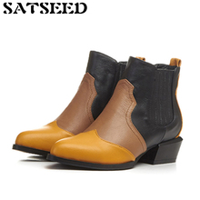 2017 Autumn Winter New British Style Martin Boots Pointed Color Genuine Leather Short Boots Women Shoes Low Square Heel Fashion