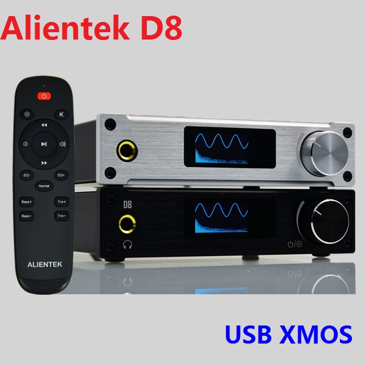 Tüketici Elektroniği'ten Amplifikatör'de 2019 yeni Alientek D8 tam dijital ses kulaklık amplifikatörü girişi USB XMOS/koaksiyel/optik/AUX 80W * 2 24Bit/192KHz DC28V/4.3A
