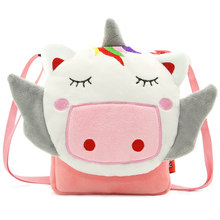 Unicorn Flap Bag For Baby Girls Boys Soft Plush Cartoon Schoolbag Kids Shoulder Bags Children Messenger Bolsa Small School Pouch(China)