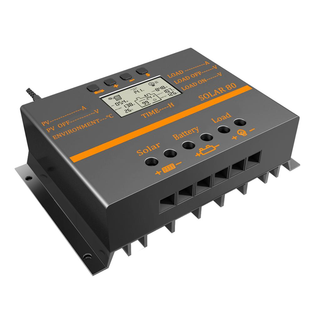 80A/60A Solar Charge Controller with PWM Charging Mode Automatic Temperature Compensation Function