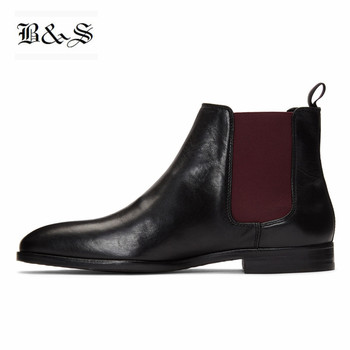 Black& Street 2019 high top slip on men Suede Leather Chelsea  Boots personalize handmade genuine leather shoes