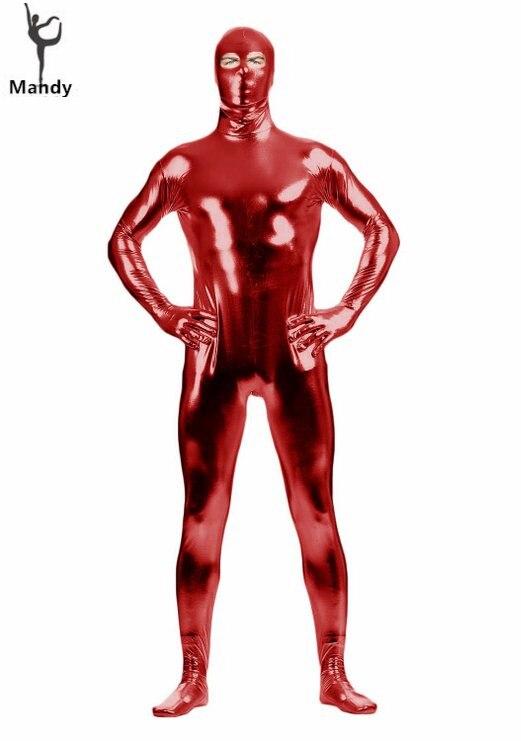 Shiny Metallic Eyes Open Black Tight Zentai Costume Bodysuit One