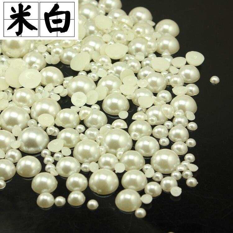 bf7adf4d8b1c 16mm perlas beige calidad parte inferior plana perla para DIY mobiles boda  Zapatos Bolsas Accesorios