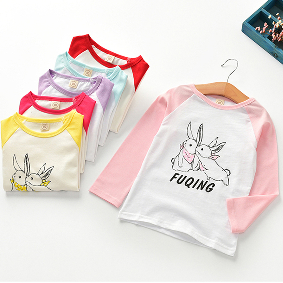 Famli Baby Girls T-shirt Spring Autumn Children Lovely Long Sleeve Rabbit Cartoon Print Casual Tee Top Baby Kids Tshirt Clothes