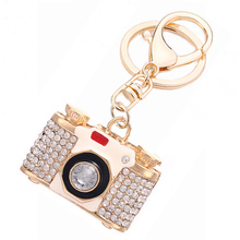 Unique Novelty Rhinestone Camera Keychain Fashion Creative Crystal Car Key Chain Ring Holder Charm Bag Accessory Gift R098