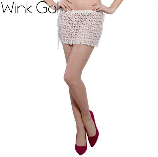 41dfd5c86e Wink Gal Hot Summer Skirt White Skirt Hollow Out Shell Pattern Short Skirts  Beach Cover Up
