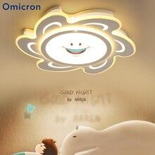 Omicron Chandeliers LED White Cartoon Sun Smile Lights Originality Modern Chandelier Dimming For Living Room Bedroom Lamp