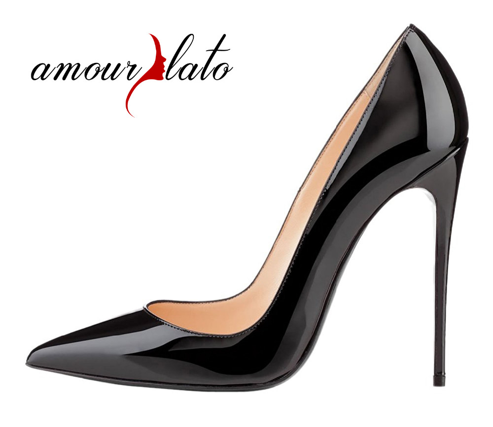 Amourplato Women's Pointy Toe Extreme High Heels Pumps Ladies Dress Shoes 12cm Sexy Stilettos Party Prom Wedding Dress Pumps amourplato women s fashion pointed toe high heel sandals crisscross strap pumps pointy dress shoes black purple size5 13