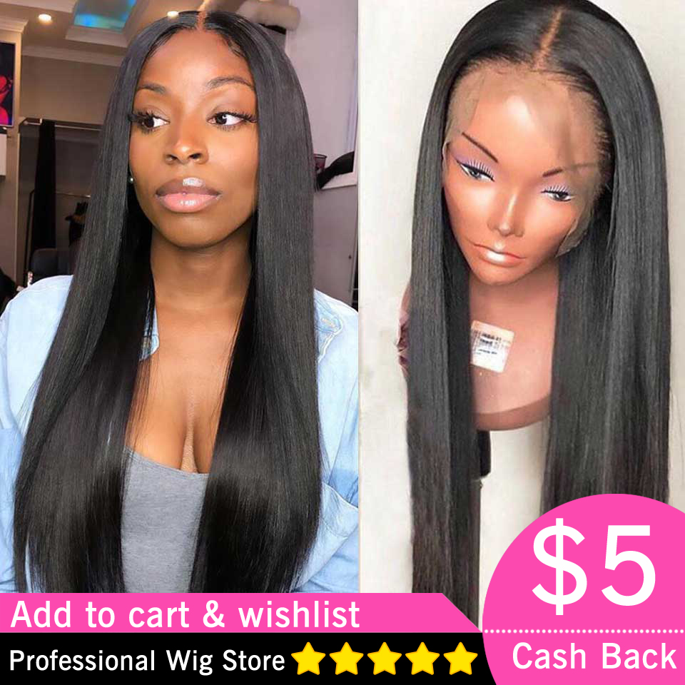 180 Density Lace Front Human Hair Wigs Pre Plucked Brazilian Long Straight Lace Front Wig Remy