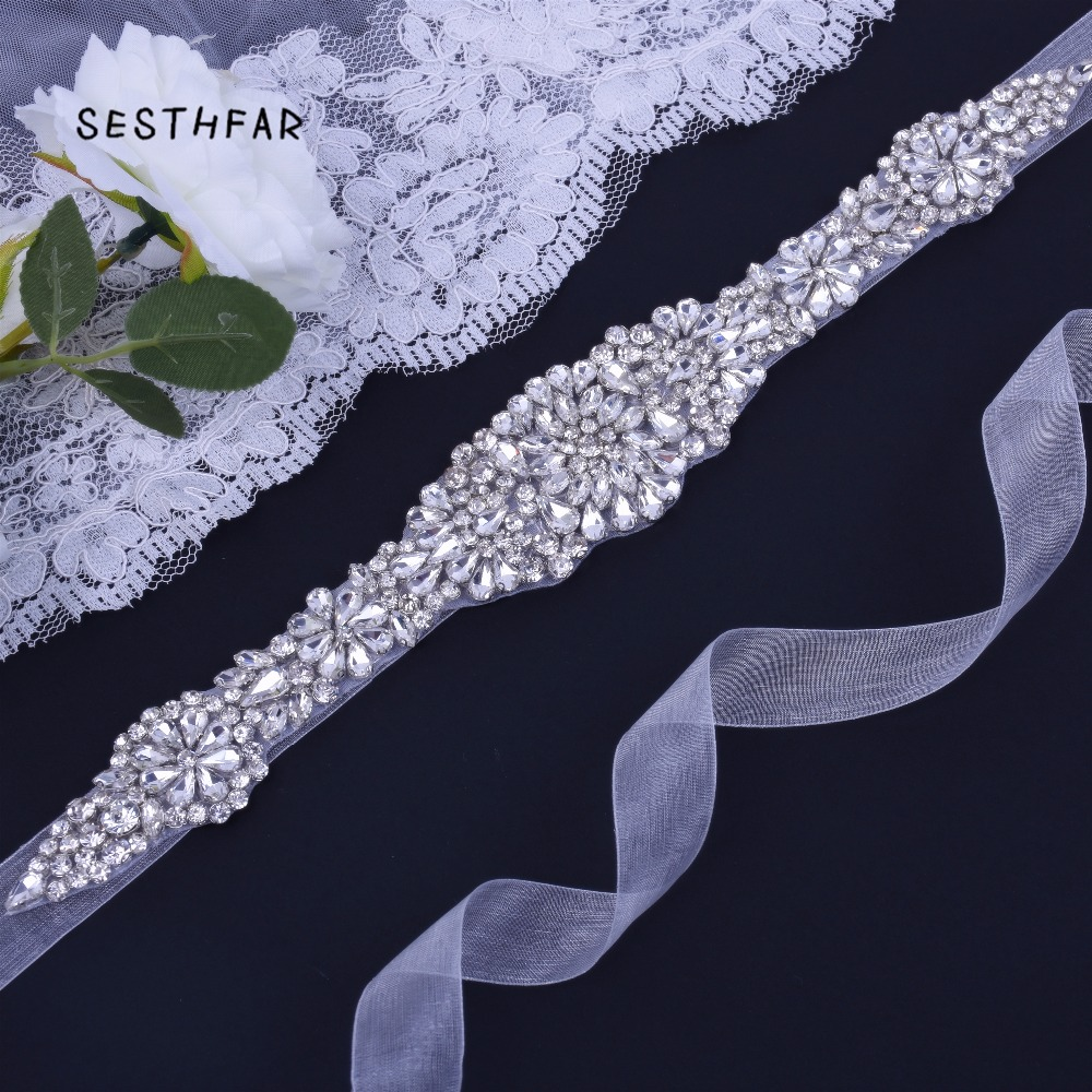 Wedding Belt Elegent Crystal Bridal Sash Rhinestone Wedding Party Bride Belt For Dress Sash JY23FS In Stock