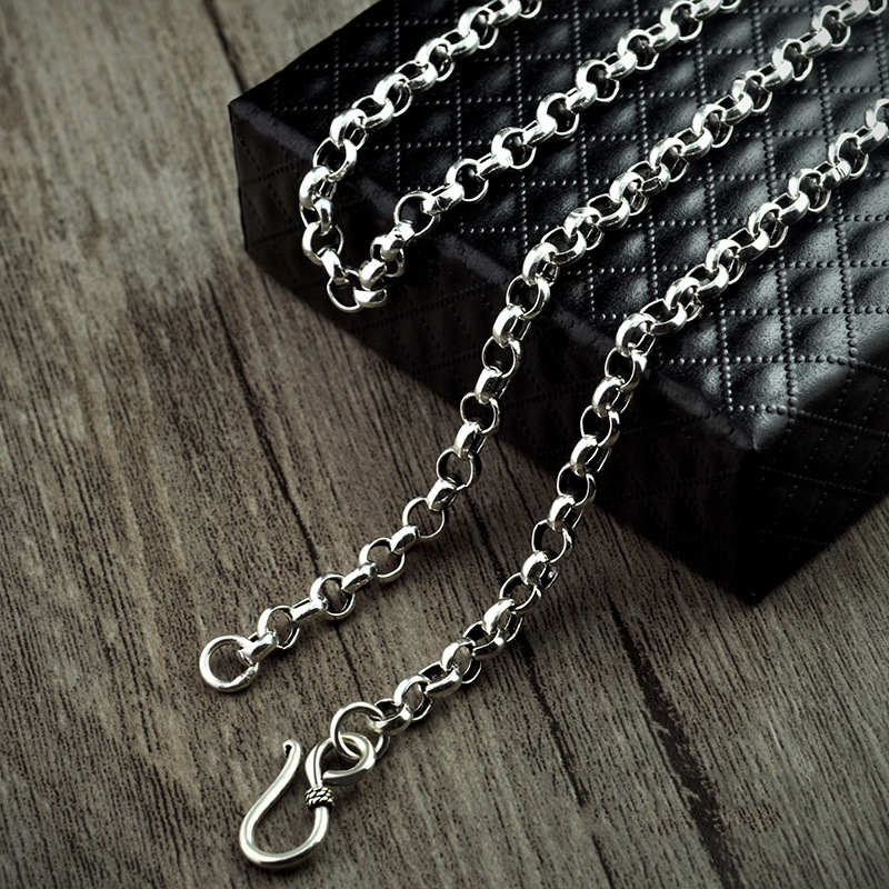 Vintage Sweater Chain 925 Sterling Silver Necklace For Men Handmade Round Chain Link Female Male Clavicle Silver Chain faux turquoise oval round sweater chain
