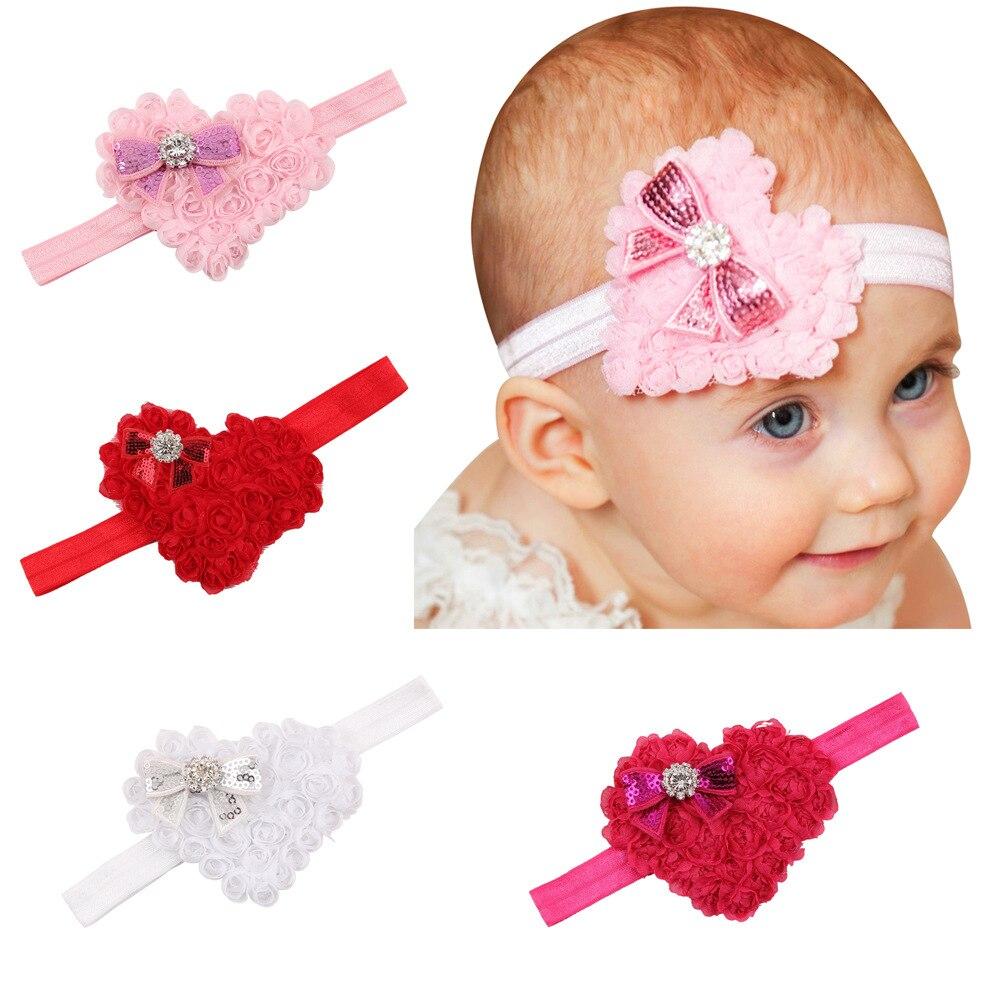 baby girl headband Infant hair accessories cloth bows newborn   Headwear   tiara Gift Toddlers bandage Ribbon love heart headwrap